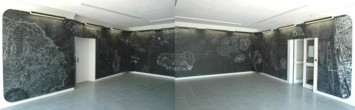 Entre WNEW/LATEST et algo 2001 - impressions / 2004 / 1800x240cm / acrylique et craie grasse sur bois - acrylic and oil pastel on wood panel