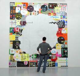 MYK, internet fictions / 400x360cm / acrylique et collage sur bois - acrylic and collage on wood panel