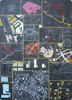 Minsk / 345x240cm / acrylique et craie grasse sur bois - acrylic and oil pastel on wood panel