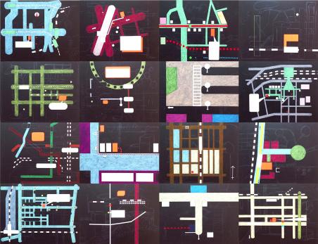 Tokyo map / 200x260cm / acrylique et craie grasse sur bois - acrylic and oil pastel on wood panel