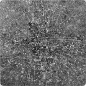 Les villes continues #17 RNDSTD / The continuous cities #17 RNDSTD / 2012 150x150cm / dessin à l'encre sur polyester – ink drawing on polyester
