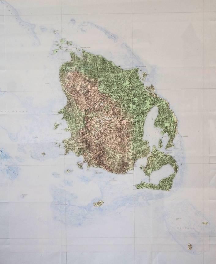 appropriation#1 Kunyié / 60X70cm / dessin à l'encre sur carte / ink drawing on polyster, map