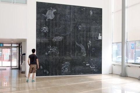 archipel / 500x500cm / acrylique, craie et craie grasse sur bois - acrylic, chalk and oil pastel on wood panels