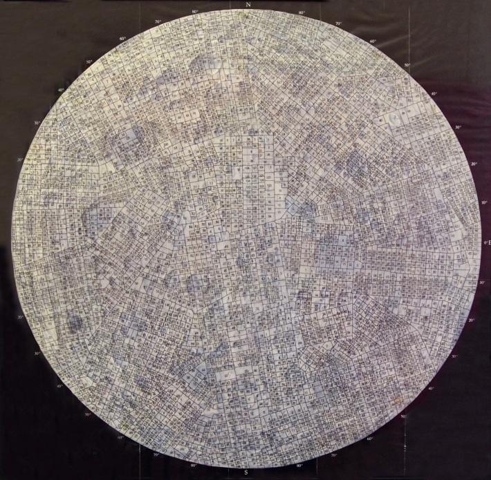 die verdeckte seite des mondes / 70x70cm / dessin à l'encre sur carte / ink drawing on polyster, map