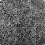 Les villes continues #18 TKY / The continuous cities #18 TKY / dessin à l'encre sur polyester – ink drawing on polyester / 150x150cm / 2013