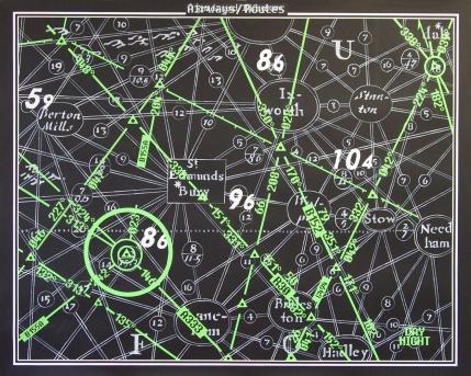 Superposition #3 (Roads and distances, Airways / Routes) / 2014 / 120x150cm / acrylique sur papier – acrylic on paper