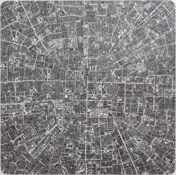 The Continuous Cities #20 TP / 2015 / 150x150cm / ink drawing on polyester