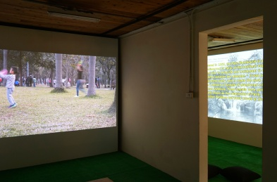 Re-tracing Buro / Park Life / Installation with 2 single channel videos and lights