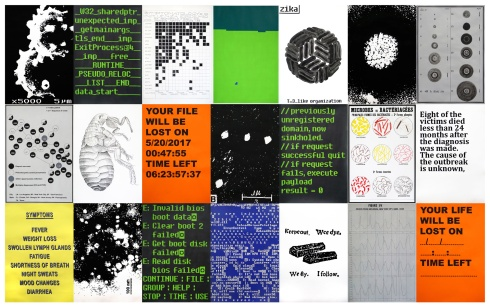 Virus / Series of 21 drawings and paintings on paper / 2017 / 240x370cm (78x54cm each)